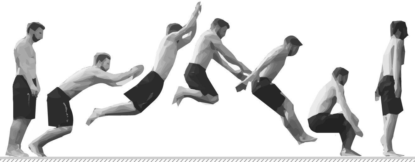 Prueba de salto en largo. Posiciones del cuerpo durante el salto