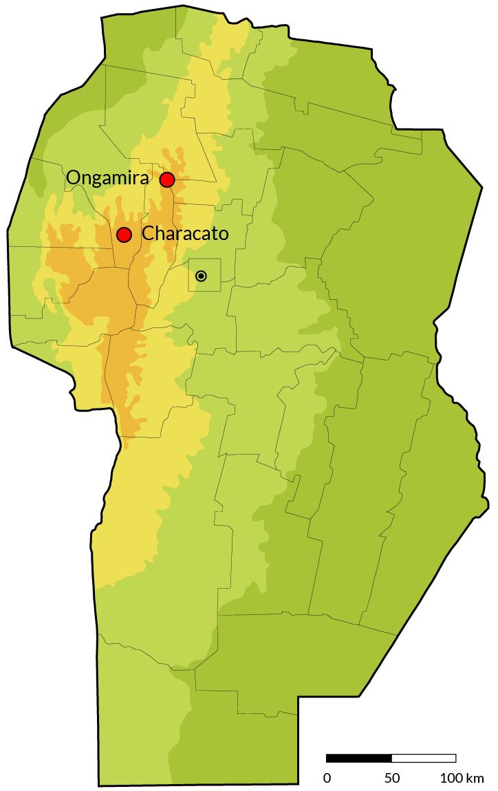 Mapa con la ubicación de los dos sitios arqueológicos