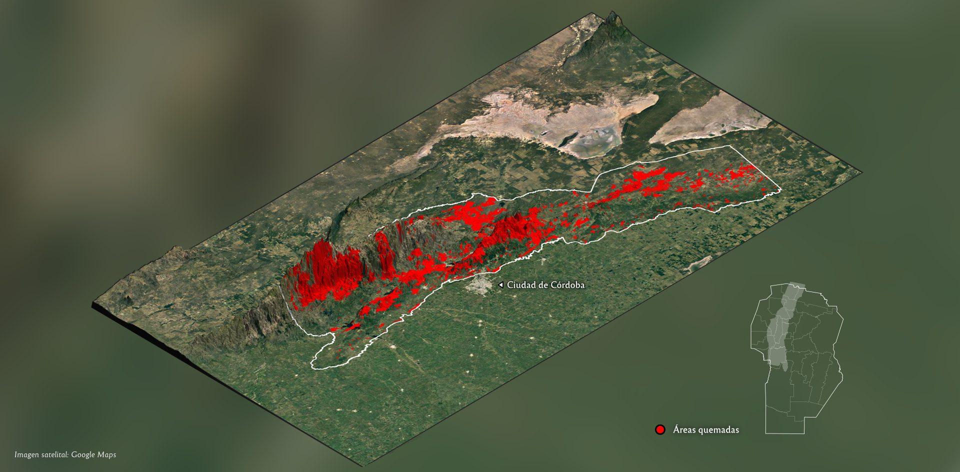 En casi dos décadas, en las sierras se quemó una superficie equivalente a 12 ciudades de Córdoba
