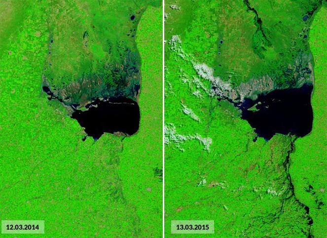 Mar Chiquita 2014 vs 2015 - Imágenes satelitales de la Conae