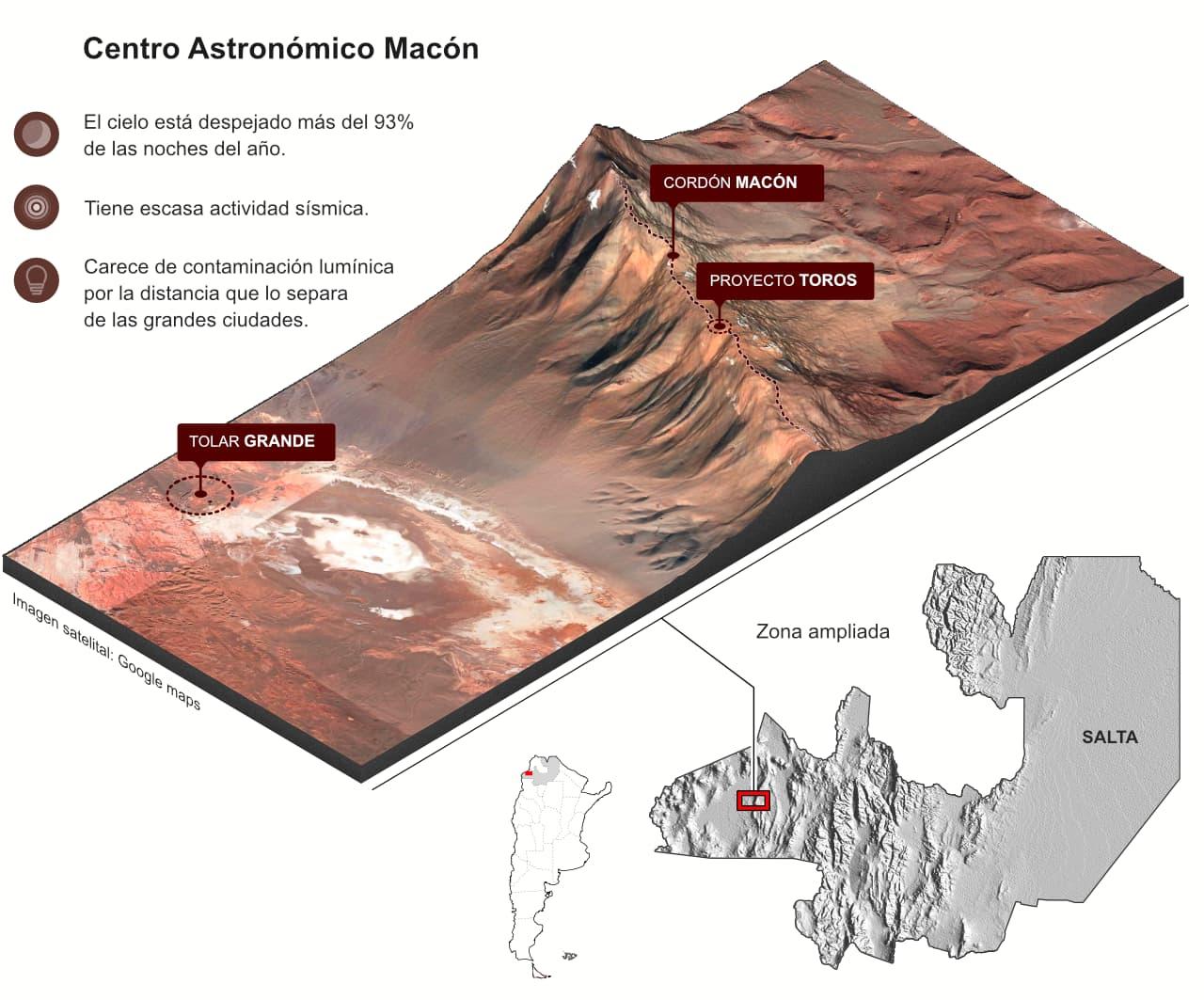 Infografía sobre la ubicación del Centro Astronómico de Macón